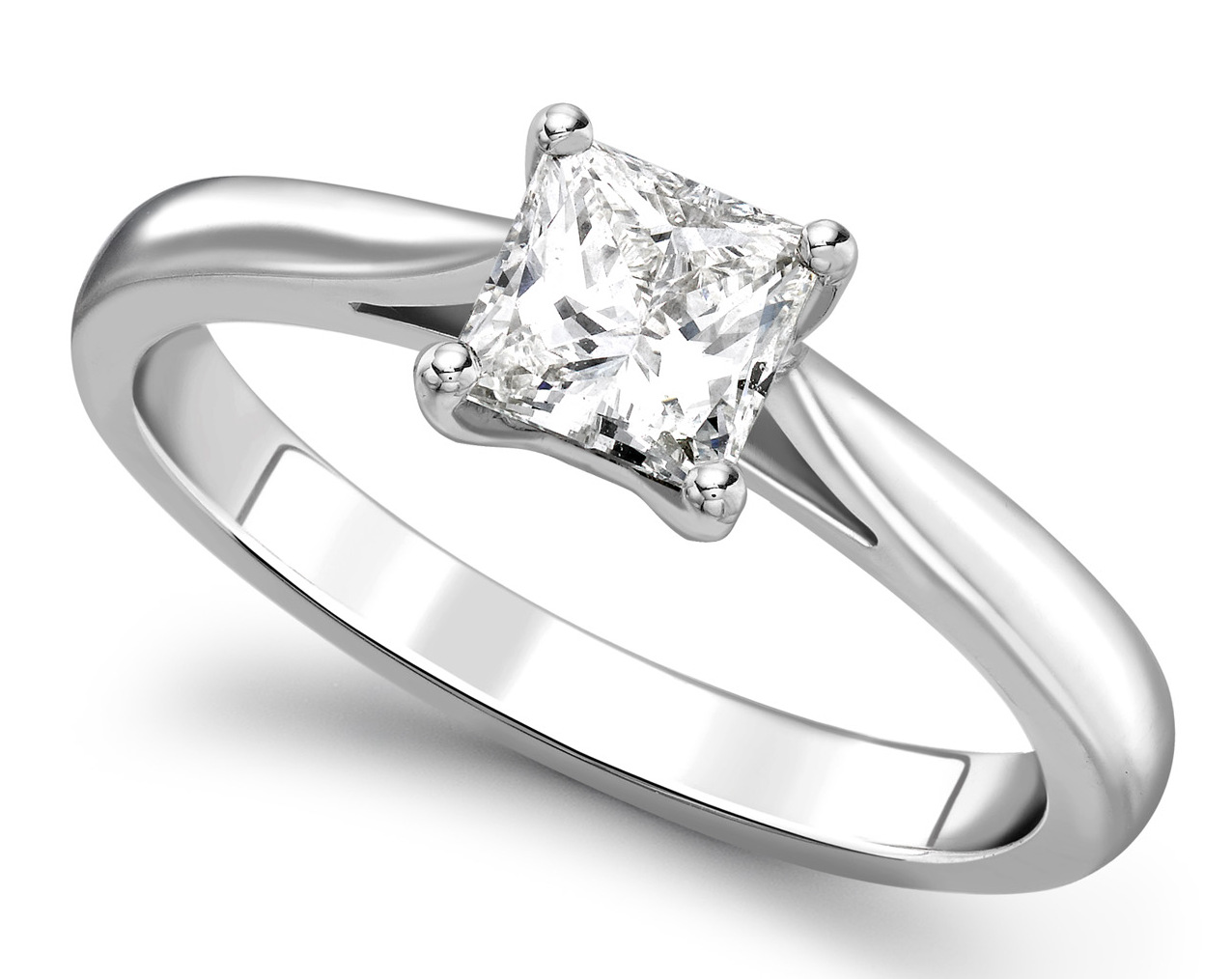 Princess Cut Four Claw White Gold Engagement Ring GRC785 Main Image
