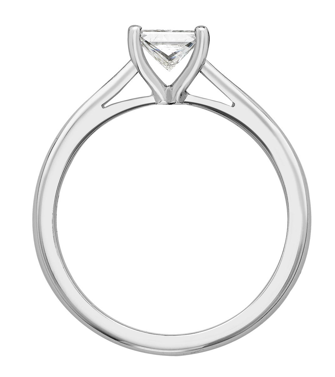 Princess Cut Four Claw White Gold Engagement Ring GRC785 Image 2