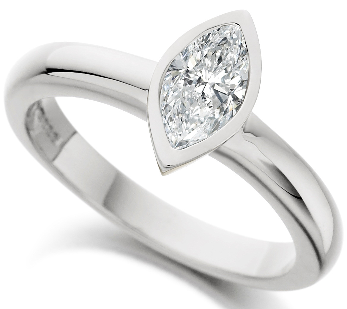 Marquise Cut Rub Over White Gold Engagement Ring ICD2554 Main Image