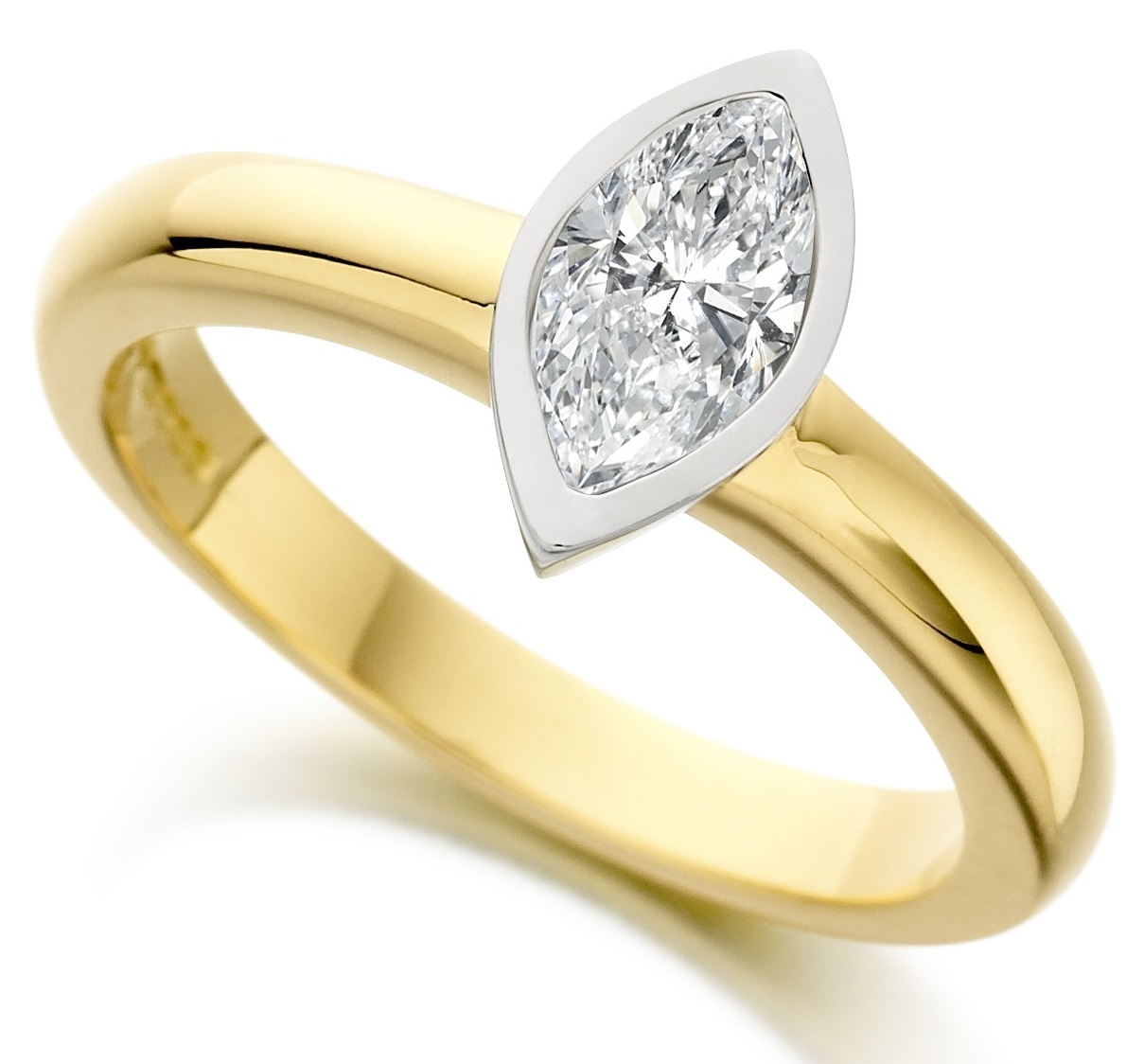 marquise cut rub yellow gold engagement ring