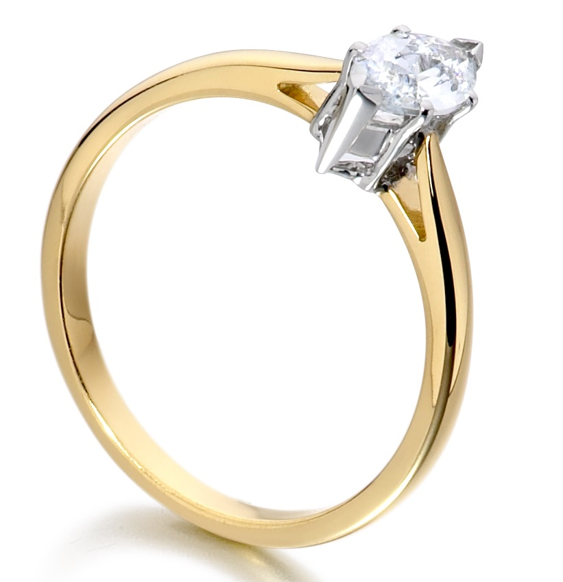 Marquise Cut Yellow Gold Diamond Engagement Ring ICD2402YG   Image 2