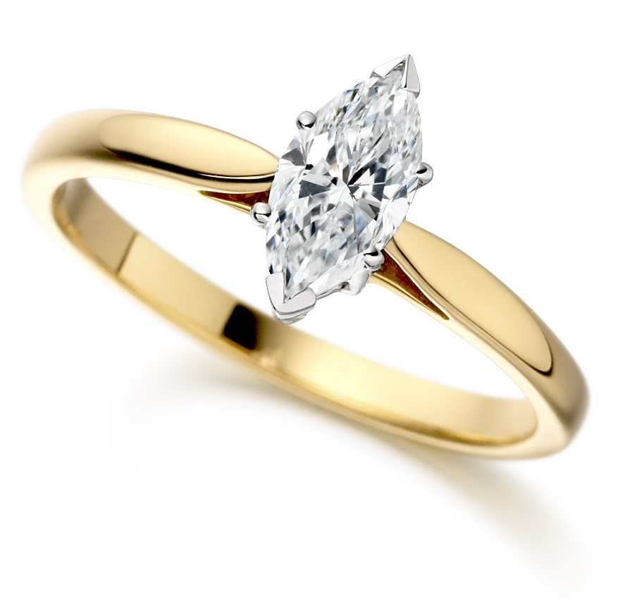 Marquise Cut Yellow Gold Diamond Engagement Ring ICD2402YG   Main Image