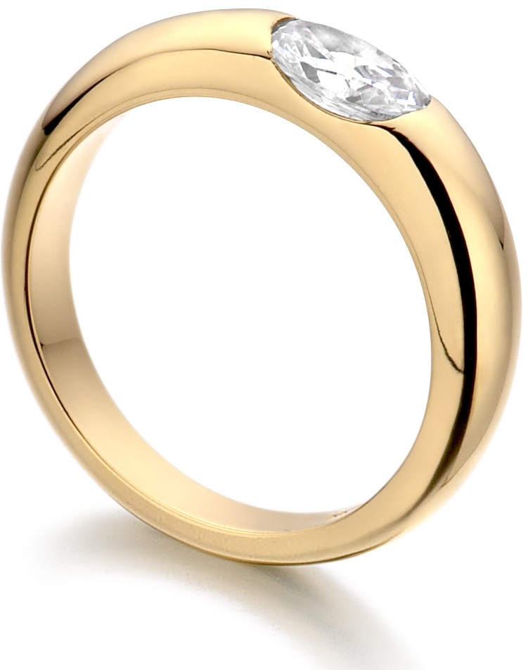 Oval Yellow Gold Diamond Engagement Ring ICD1001 Image 2