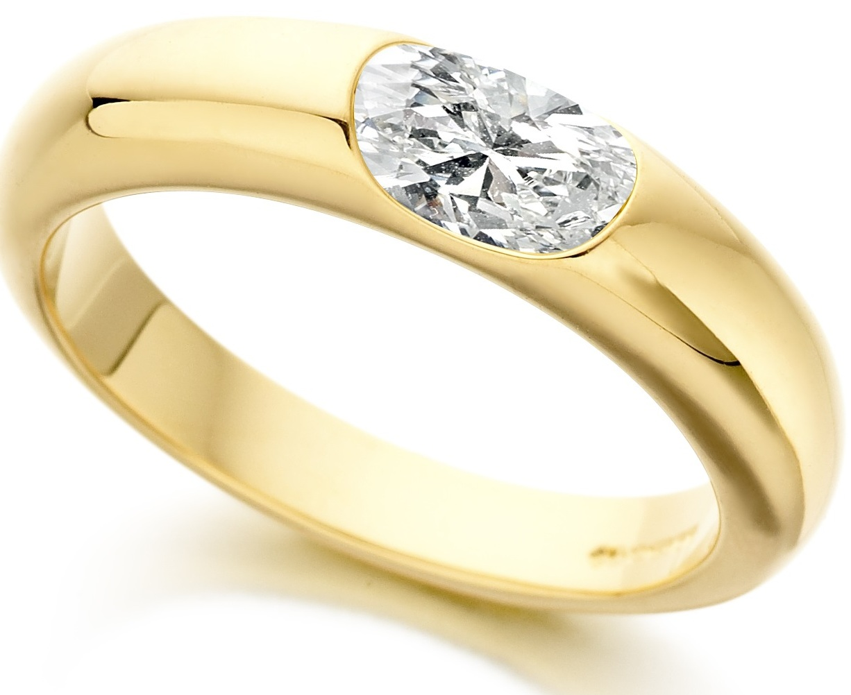 Oval Yellow Gold Diamond Engagement Ring ICD1001 Main Image