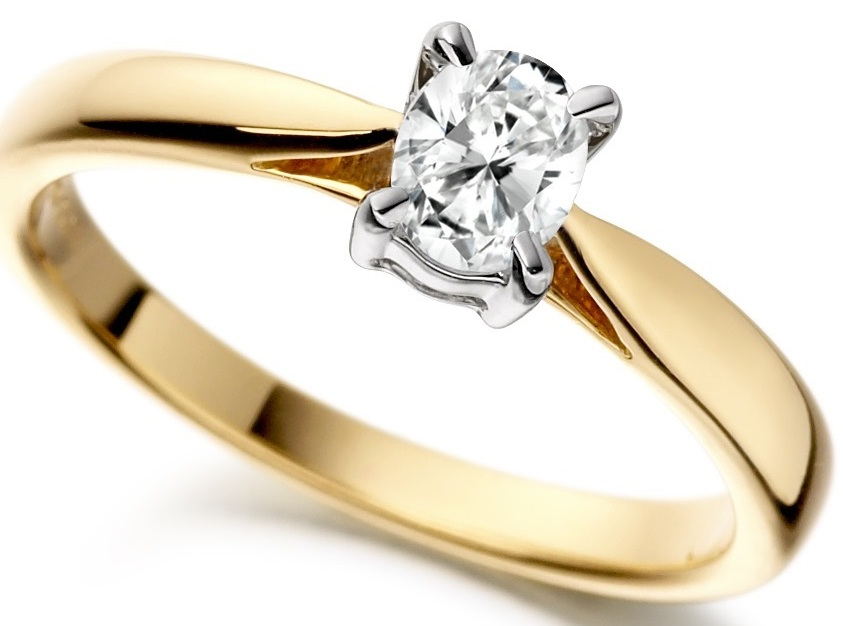 Oval Yellow Gold Diamond Engagement Ring ICD801YG Main Image