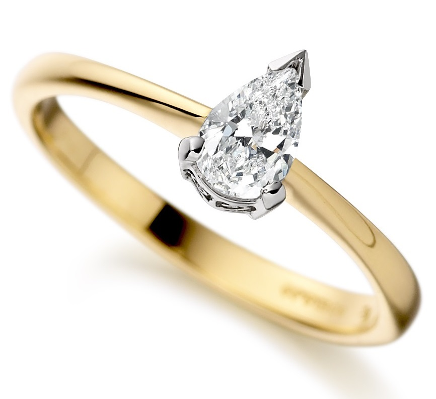 Pear Shape Yellow Gold Diamond Engagement Ring ICD2722 Main Image