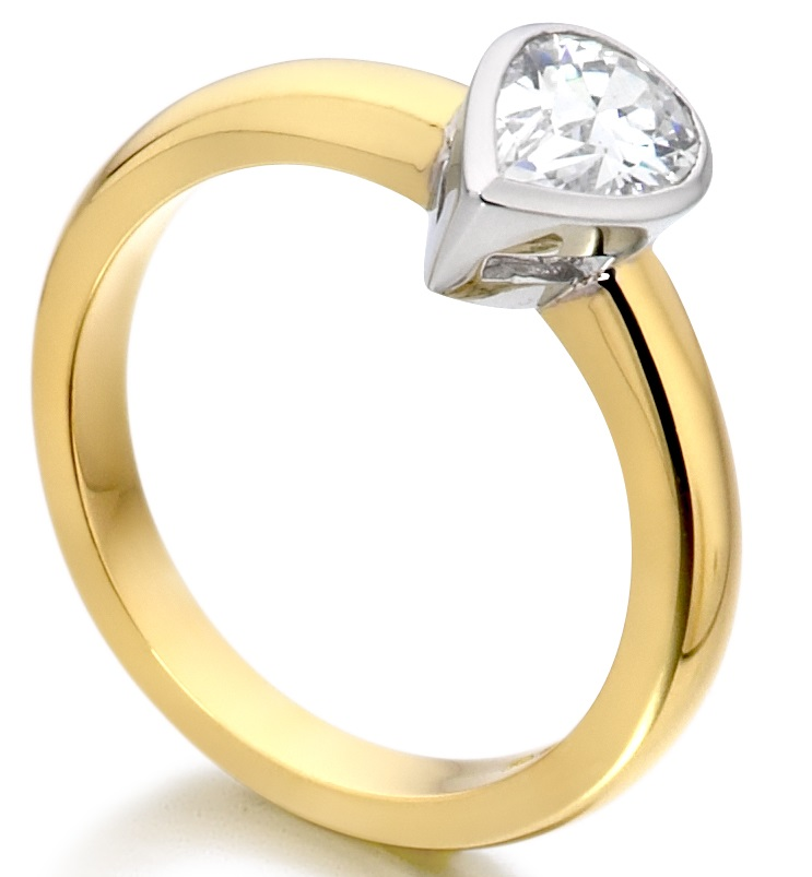 Pear Shape Rub Over Yellow Gold Engagement Ring ICD2852YG Image 2