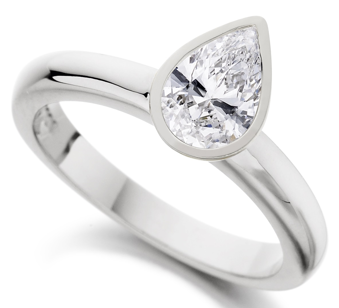 Pear Shape Rub Over White Gold Engagement Ring ICD2852 Main Image