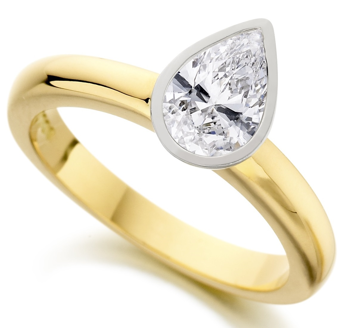 Pear Shape Rub Over Yellow Gold Engagement Ring ICD2852YG Main Image