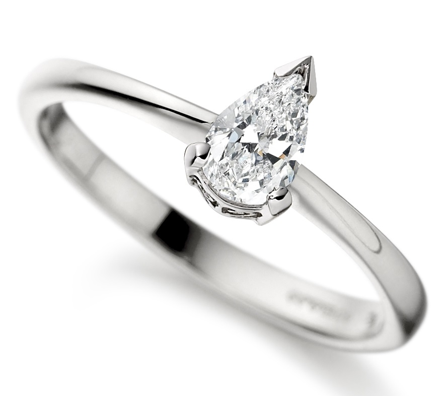 Pear Shape White Gold Diamond Engagement Ring ICD2722 Main Image