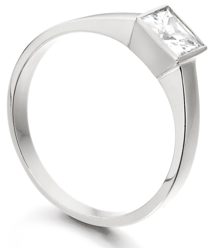 Princess Cut Rub Over White Gold Engagement Ring ICD1527 Image 2