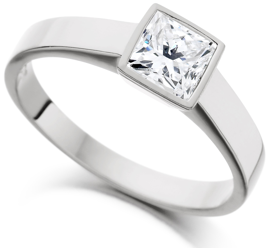 Princess Cut Rub Over White Gold Engagement Ring ICD1527 Main Image
