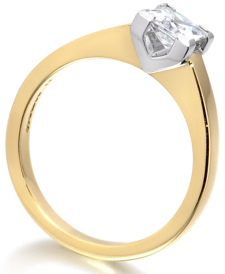 Princess Cut Four Claw Yellow Gold Engagement Ring ICD1527YG Image 2