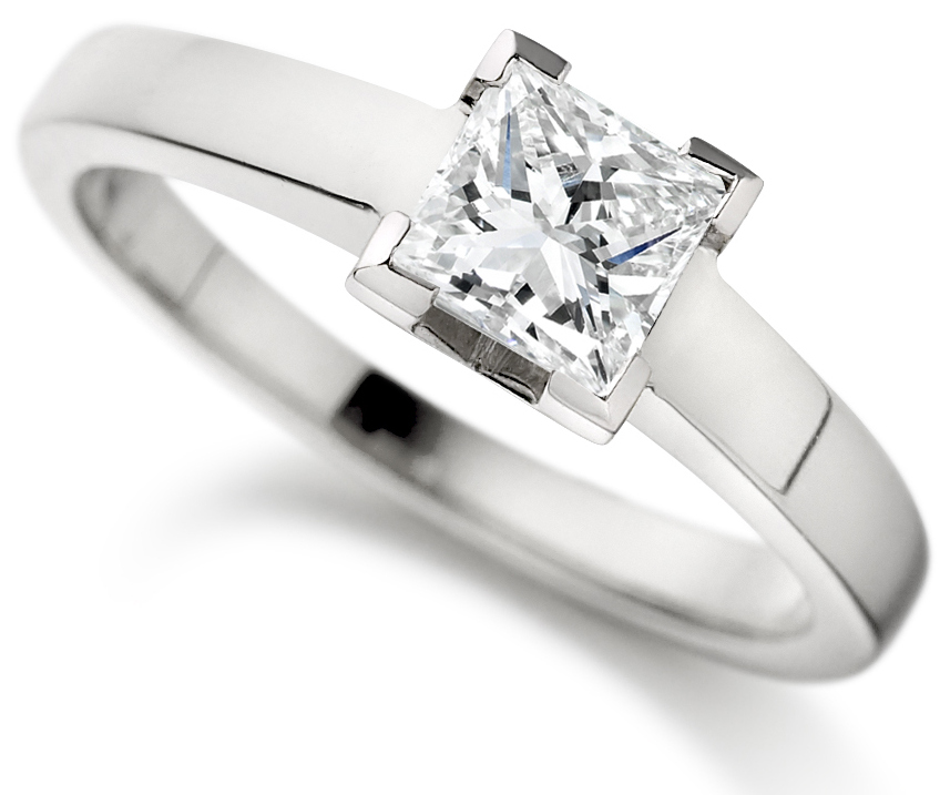 Princess Cut 4 Claw Platinum Engagement Ring ICD1527PLT Main Image