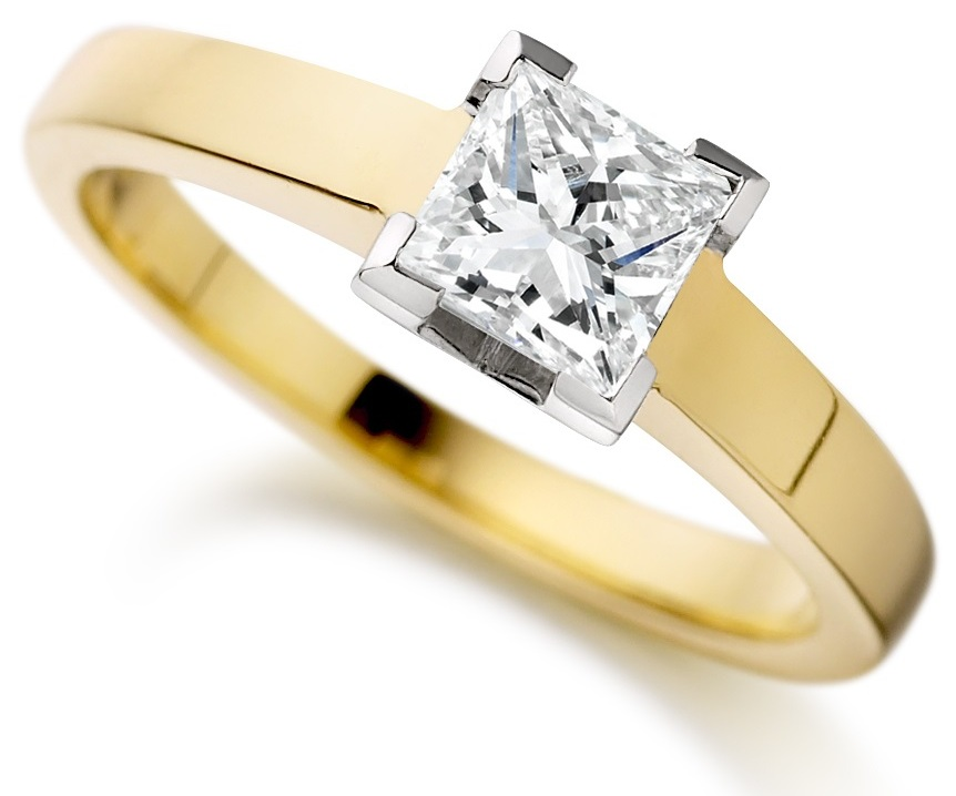 Princess Cut Four Claw Yellow Gold Engagement Ring ICD1527YG Main Image
