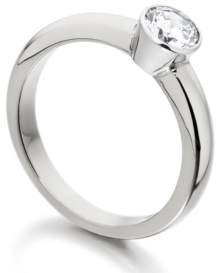 Round Rub Over White Gold Engagement Ring  IC0503 Image 2