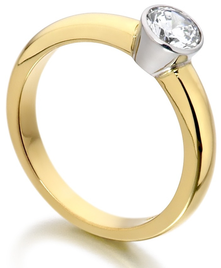 Round Rub Over Yellow Gold Engagement Ring IC0503YG Image 2
