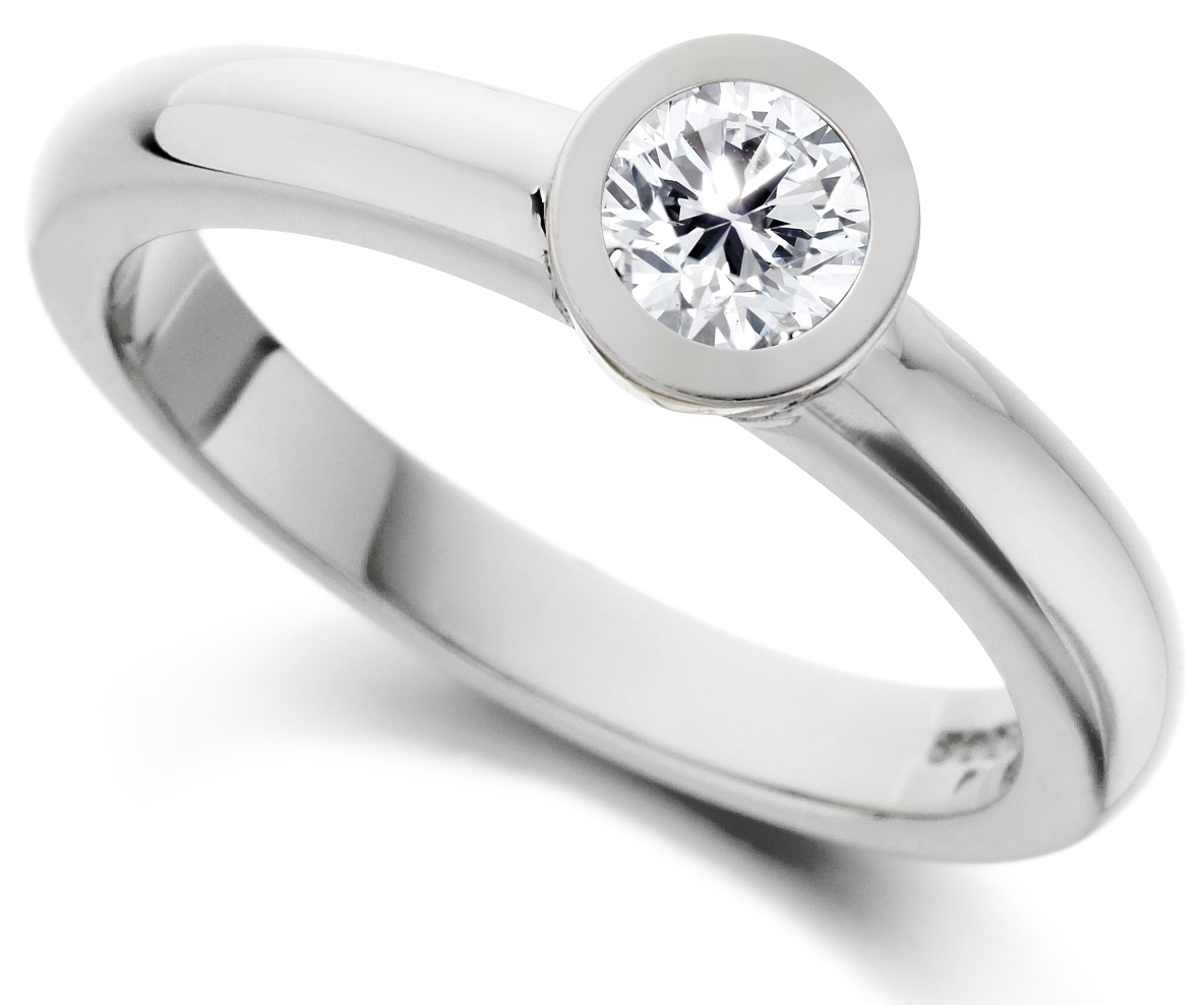 Round Rub Over White Gold Engagement Ring  IC0503 Main Image