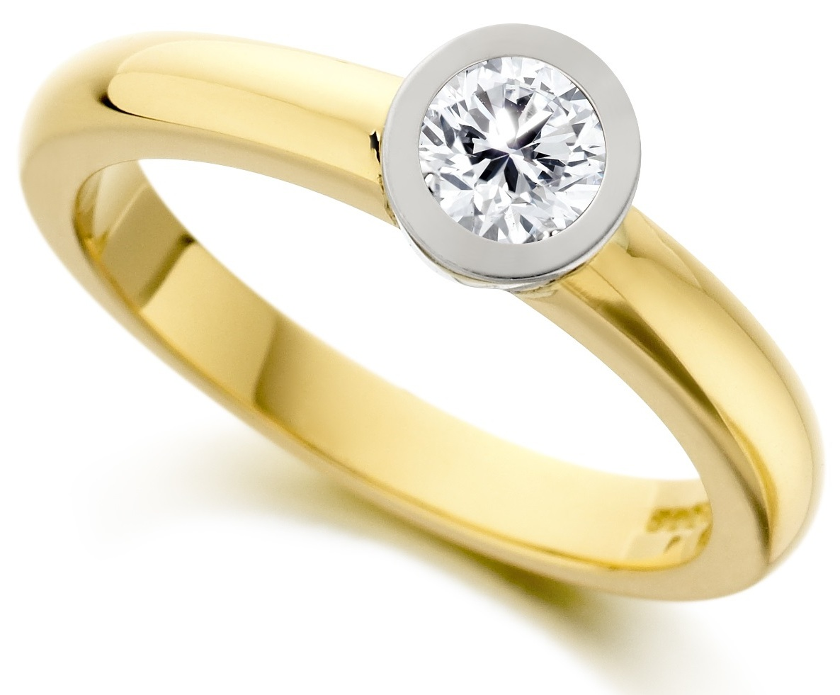 Round Rub Over Yellow Gold Engagement Ring IC0503YG Main Image