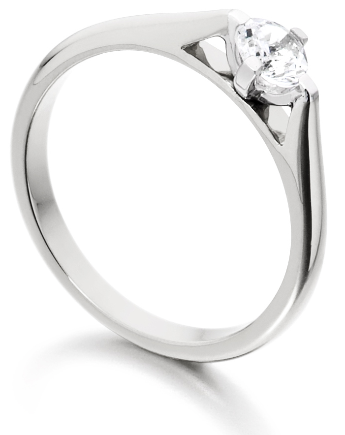 Round Four Claw White Gold Engagement Ring ICD185 Image 2