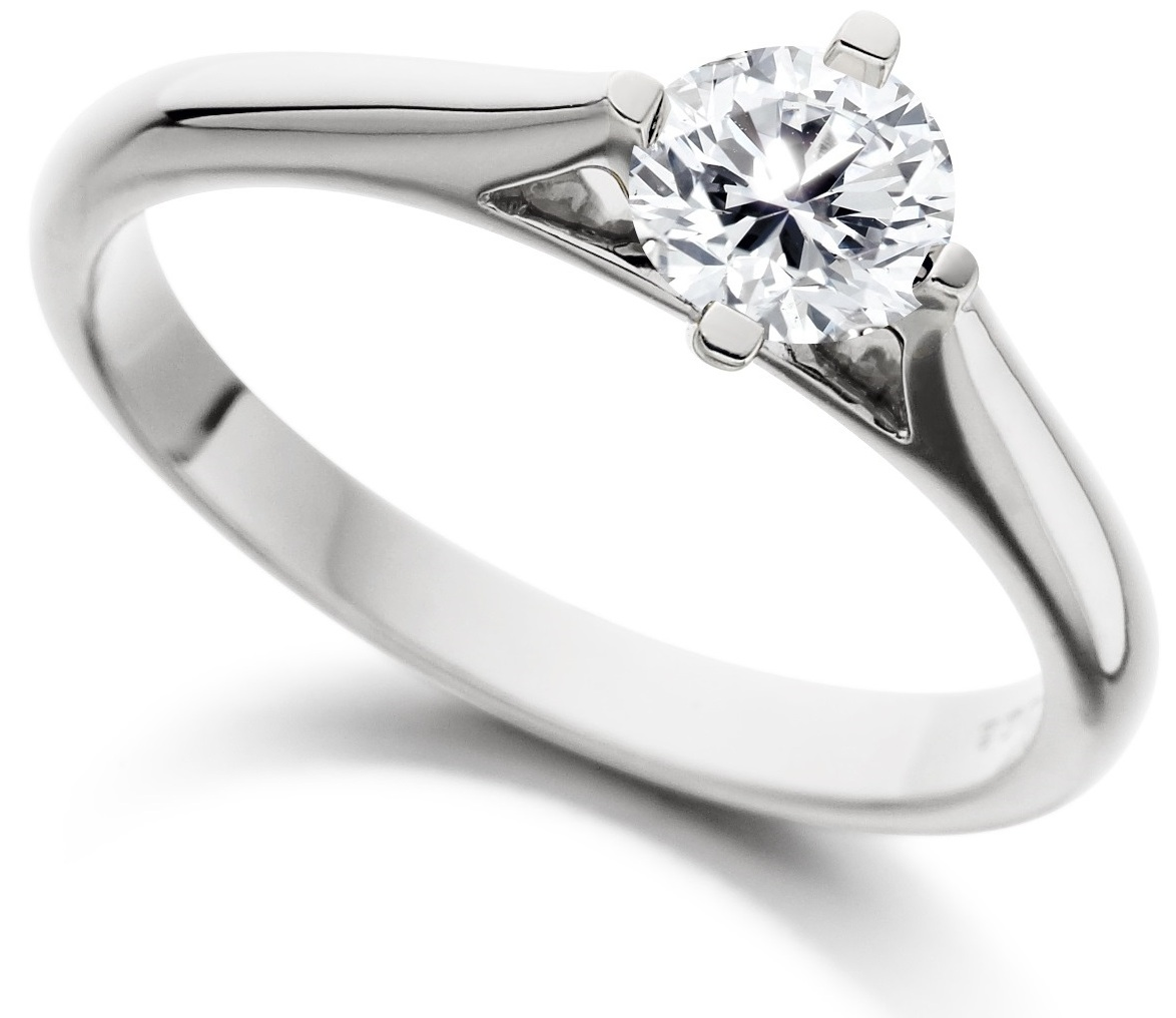 Round Four Claw White Gold Engagement Ring ICD185 Main Image