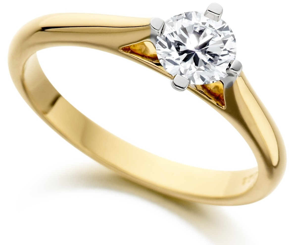Round Four Claw Yellow Gold Engagement Ring ICD185YG Main Image