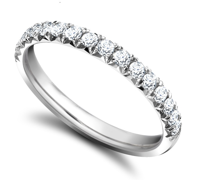 Round 2mm diamond fishtail wedding ring  Main Image