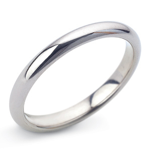 D Shape 3mm White Gold Wedding Ring Main Image