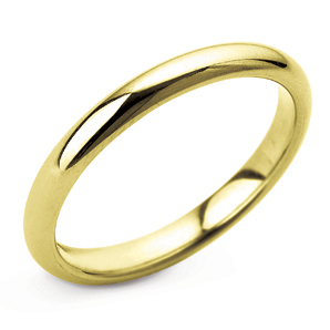 D Shape 2mm Yellow Gold Wedding Ring Main Image