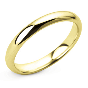 D Shape 3mm Yellow Gold Wedding Ring Main Image