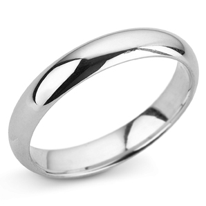 D Shape 4mm White Gold Wedding Ring Main Image