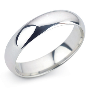 D Shape 5mm Platinum Wedding Ring Main Image