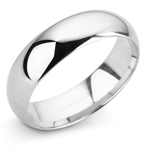 D Shape 6mm Platinum Wedding Ring Main Image