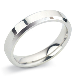 Bevelled Edge 4mm Platinum Wedding Ring Main Image