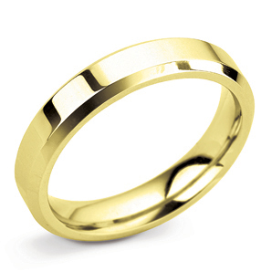 Bevelled Edge 4mm Yellow Gold Wedding Ring Main Image