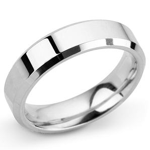 Bevelled Edge 5mm White Gold Wedding Ring Main Image