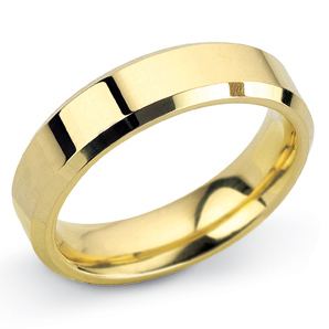 Bevelled Edge 5mm Yellow Gold Wedding Ring Main Image