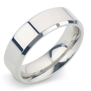 Bevelled Edge 6mm Platinum Wedding Ring Main Image