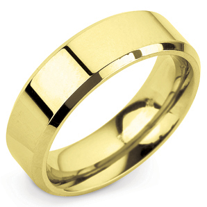 Bevelled Edge 6mm Yelllow Gold Wedding Ring Main Image