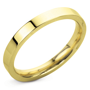 Bevelled Edge 3mm Yellow Gold Wedding Ring