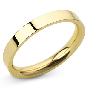 Flat Court 3mm Yellow Gold Wedding Ring Image 1