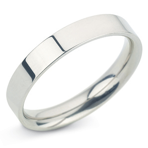 Flat Court 4mm White Gold Wedding Ring Main Image