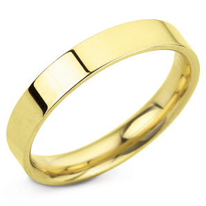 Flat Court 4mm Yellow Gold Wedding Ring Image 1