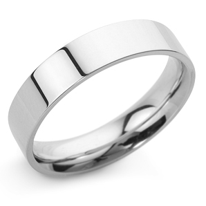 Flat Court 5mm White Gold Wedding Ring Main Image
