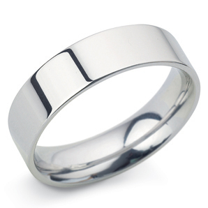 Flat Court 6mm White Gold Wedding Ring Main Image