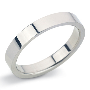 Flat 3mm White Gold Wedding Ring Main Image