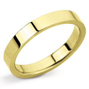 Flat 3mm Yellow Gold Wedding Ring Main Image