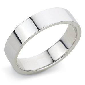 Flat 5mm White Gold Wedding Ring Main Image