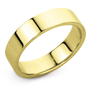 Flat Court 5mm Yellow Gold Wedding Ring Image 1