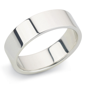 Flat 6mm White Gold Wedding Ring Main Image